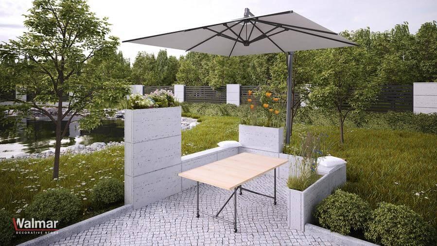 Aranżacja kącika ogrodowego z betonu architektonicznego